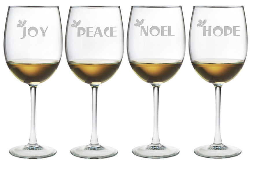 Joy Peace Noel Hope Wine Glasses ~ Set of 4