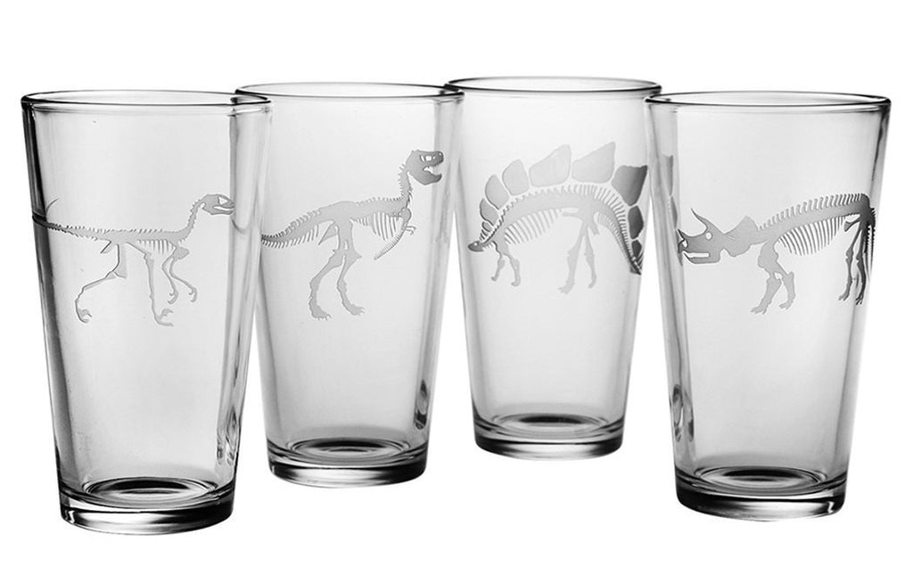 Jurassic Dinosaur Collection Pint Glasses Set of 4