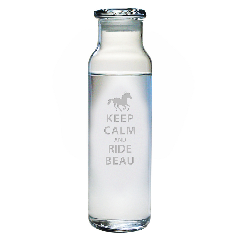Keep Calm and Ride Water Bottle with Lid - Personalized