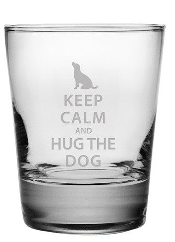 Keep Calm and Hug the Dog Double Old Fashioned Glasses ~ Set of 4