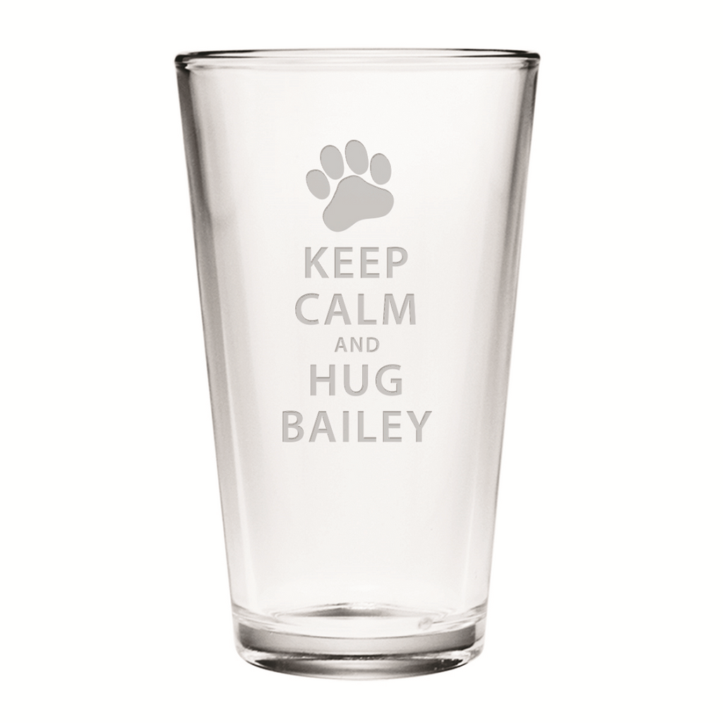 Keep Calm and Hug Personalized Pint Glasses ~ Set of 4 | Premier Home & Gifts