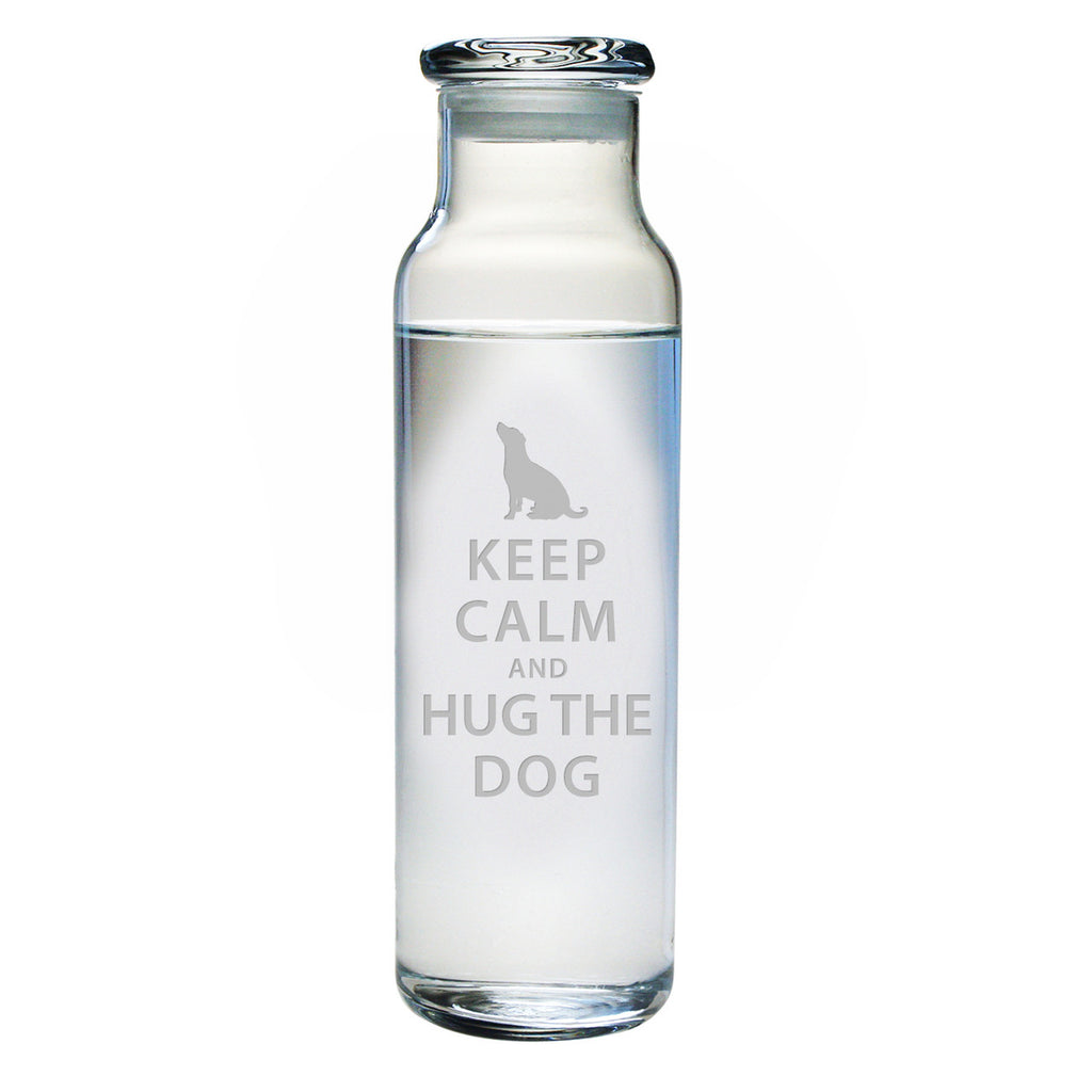 Keep Calm & Hug the Dog Water Bottle with Lid