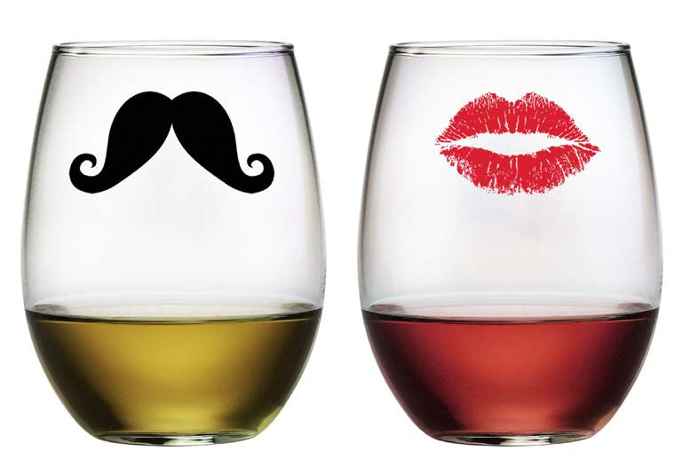 Kiss and Mustache Stemless Wine Glasses ~ Set of 2