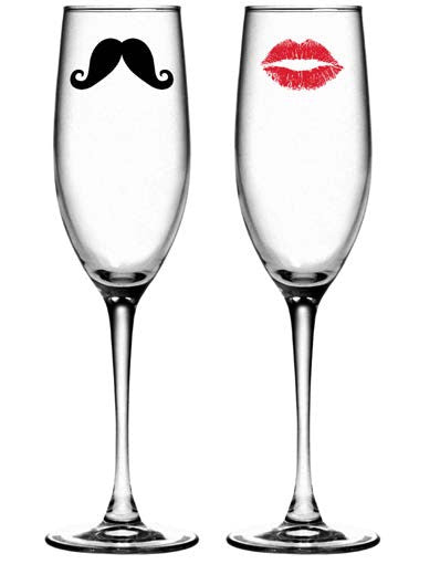 Kiss and Mustache Champagne Glasses ~ Set of 2