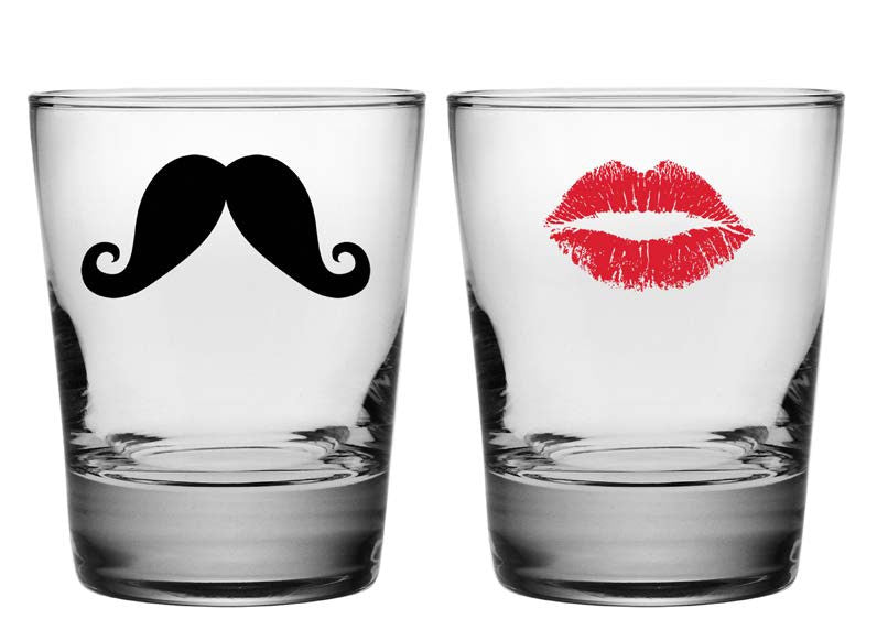Kiss and Mustache Double Old Fashioned Glasses ~ Set of 2