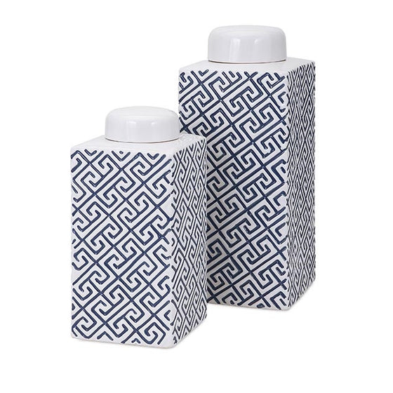 Greek Key Decorative Canisters - Set of 2