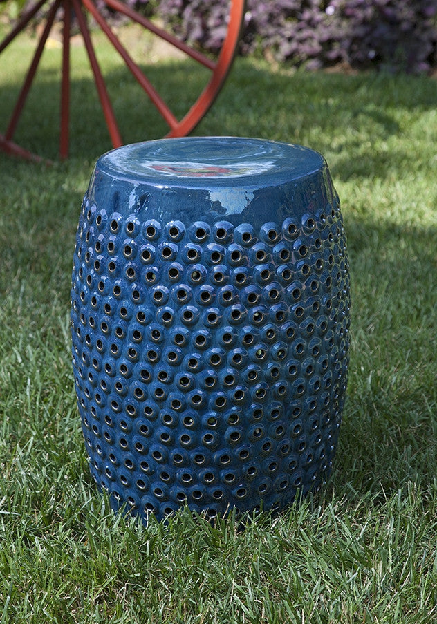 Indigo Cutwork Ceramic Garden Stool