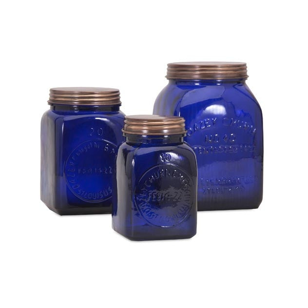 Azul Glass Canisters - Set of 3