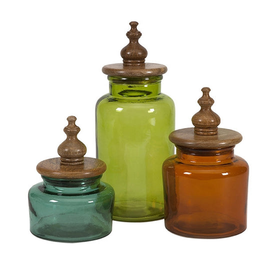 Saburo Glass and Wood Lid Canisters