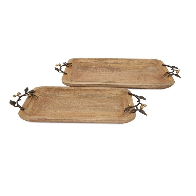 Wood Trays with Leaf Handles ~ Set of 2