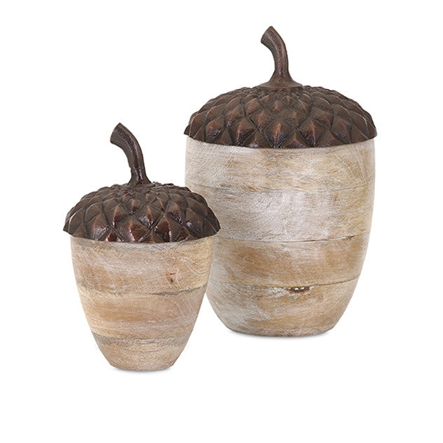 Mango Wood Acorns - Set of 2