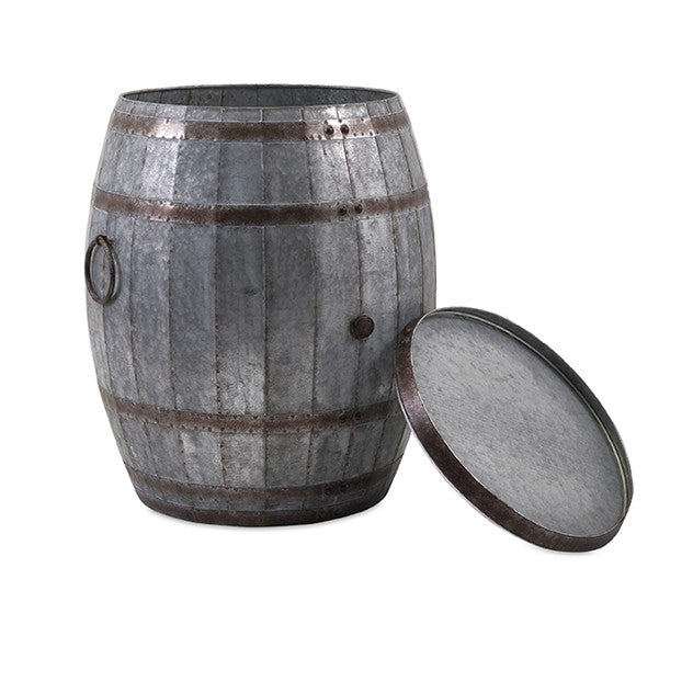 Metal Wine Barrel Storage Table