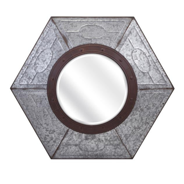 Hexagon Galvanized Mirror