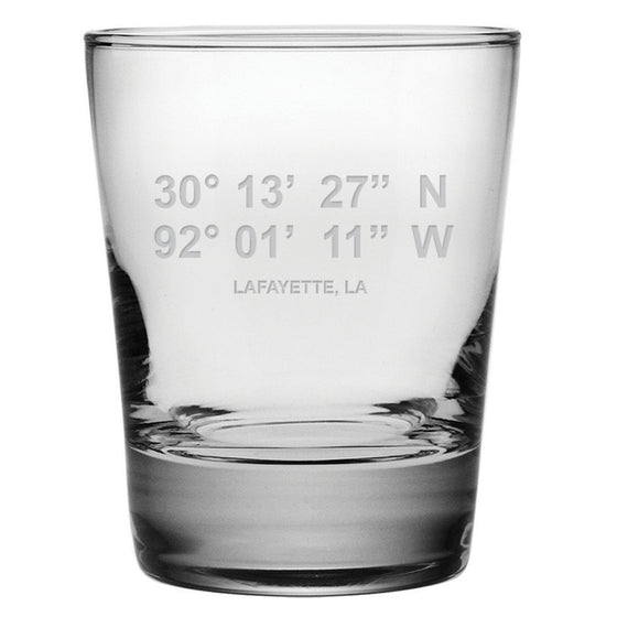 Latitude Longitude Double Old Fashioned Glasses ~ Set of 4