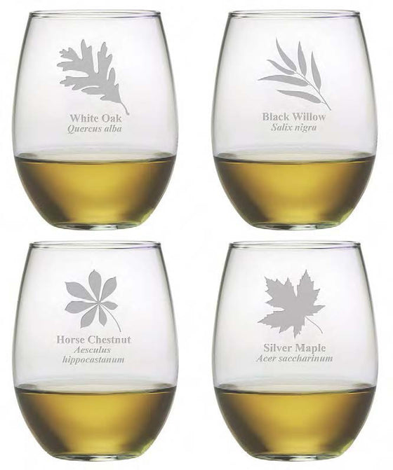 Leaf Botanicals Stemless Wine Glasses ~ Set of 4