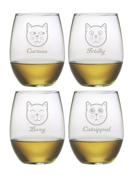 Feline Faces Stemless Wine Glasses ~ Set of 4