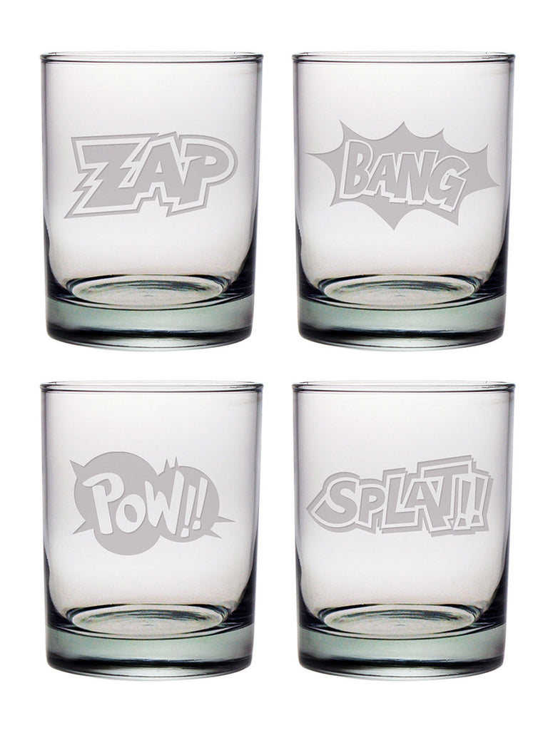 Cartoon Sounds ~ Double Old Fashioned Glasses Set of 4