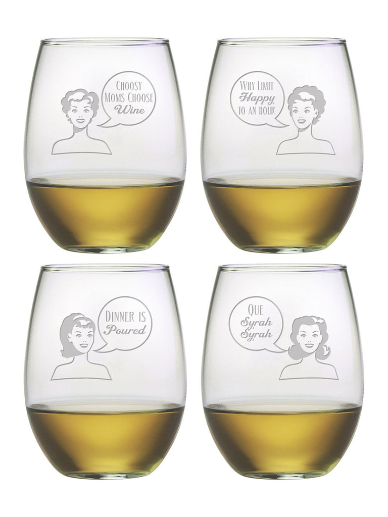 Retro Woman Stemless Wine Glasses ~ Set of 4