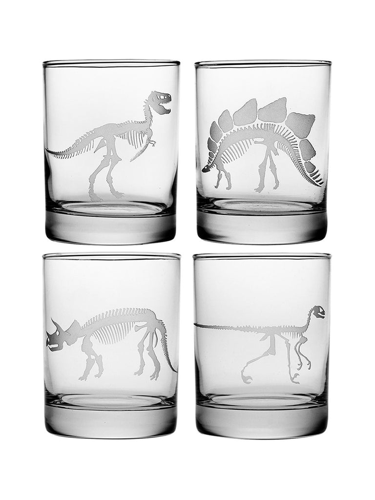 Jurassic Double Old Fashioned Glasses ~ Set of 4