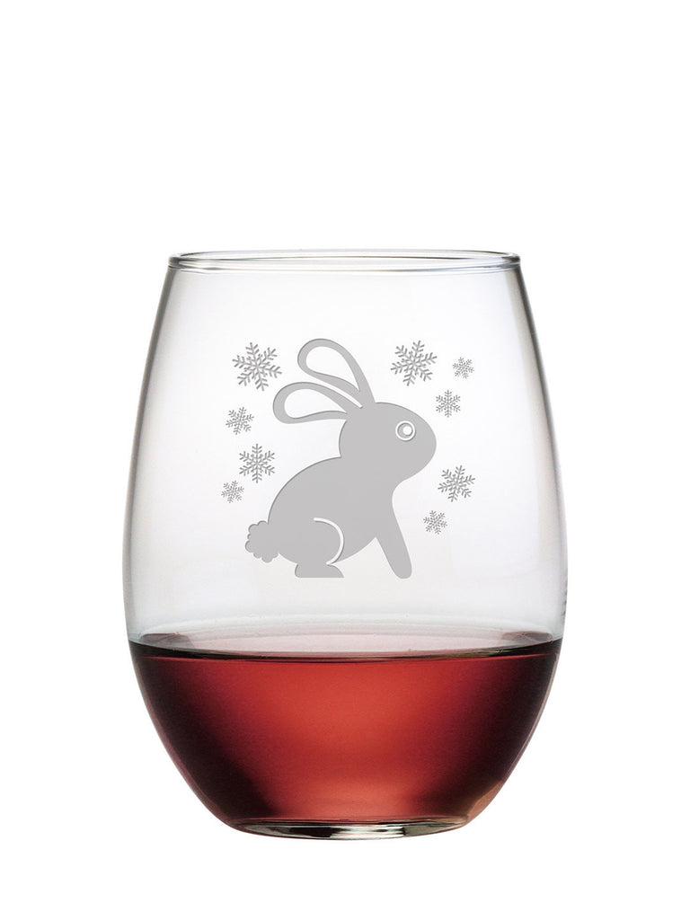 Snow Bunny Stemless Wine Glasses ~ Set of 4