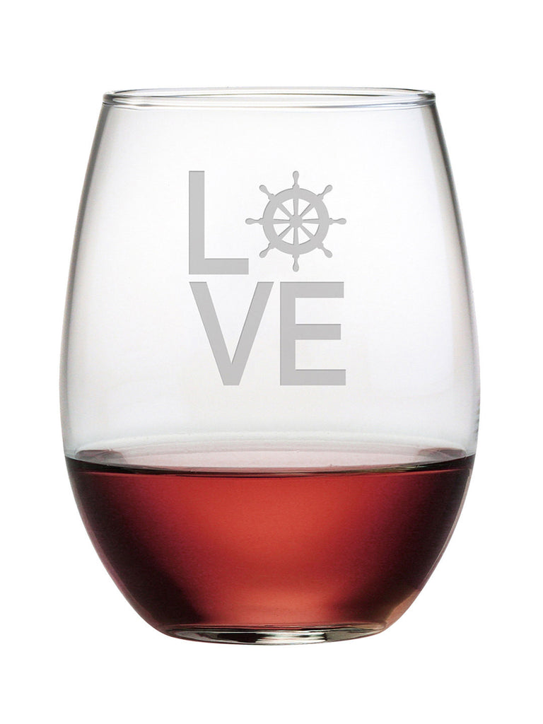 Love Nautical Stemless Wine Glasses - Set of 4