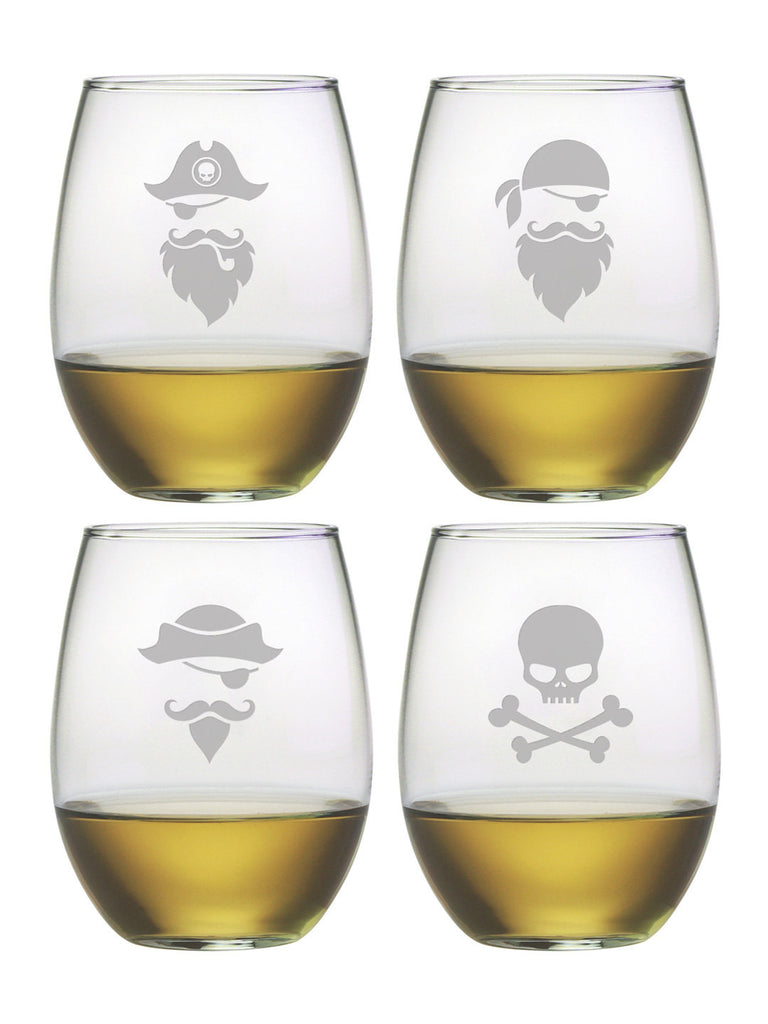 Pirate Faces Stemless Wine Glasses ~ Set of 4