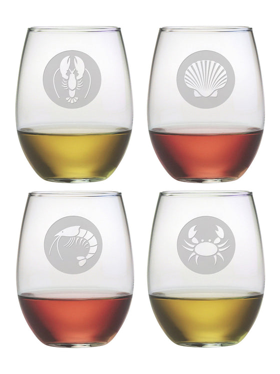 Clambake Circles Stemless Wine Glasses
