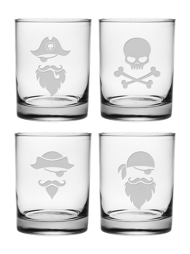 Pirate Faces Double Old Fashioned Glasses ~ Set of 4