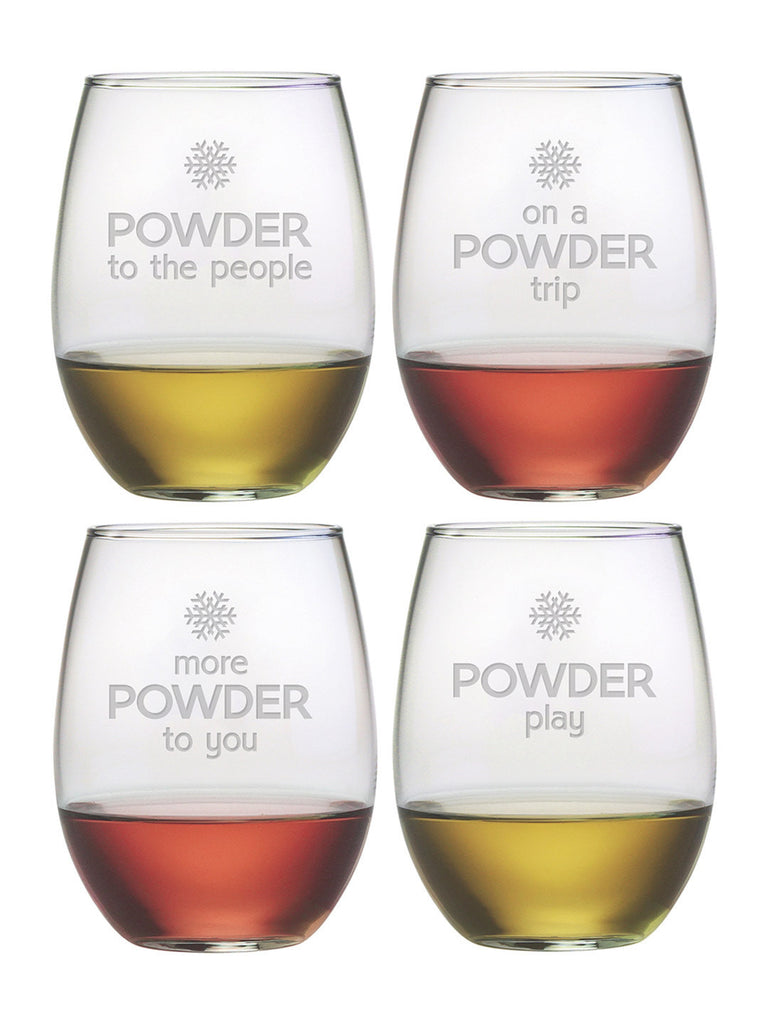 Powder Play Stemless Wine Glasses ~ Set of 4