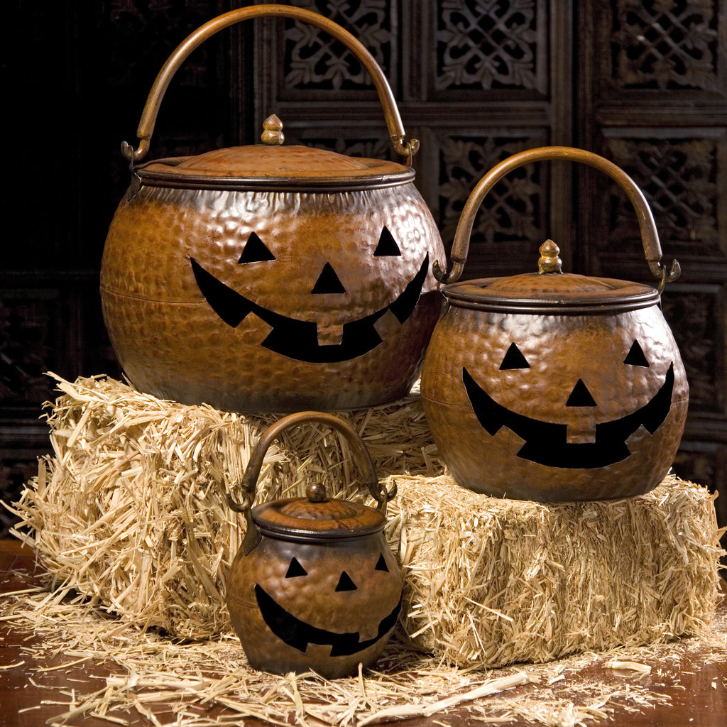 Lidded Metal Pumpkins - Set of 3