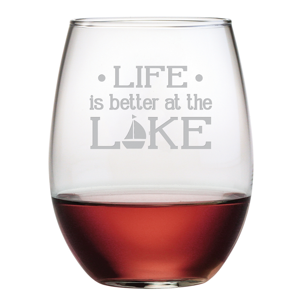 Life is Better at the Lake Stemless Wine Glasses ~ Set of 4 - Premier Home & Gifts