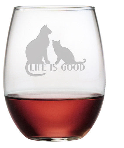 Life is Good - Cats Stemless Wine Glasses ~ Set of 4