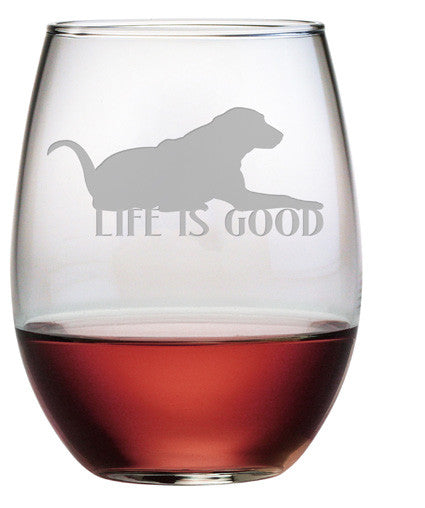 Life is Good Stemless Wine Glasses