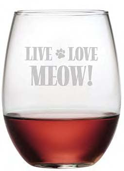 Live Love Meow Stemless Wine Glasses