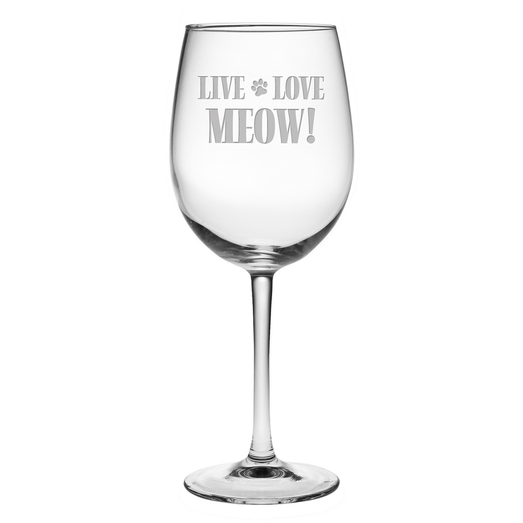 Live Love Meow Wine Glasses - Premier Home & Gifts