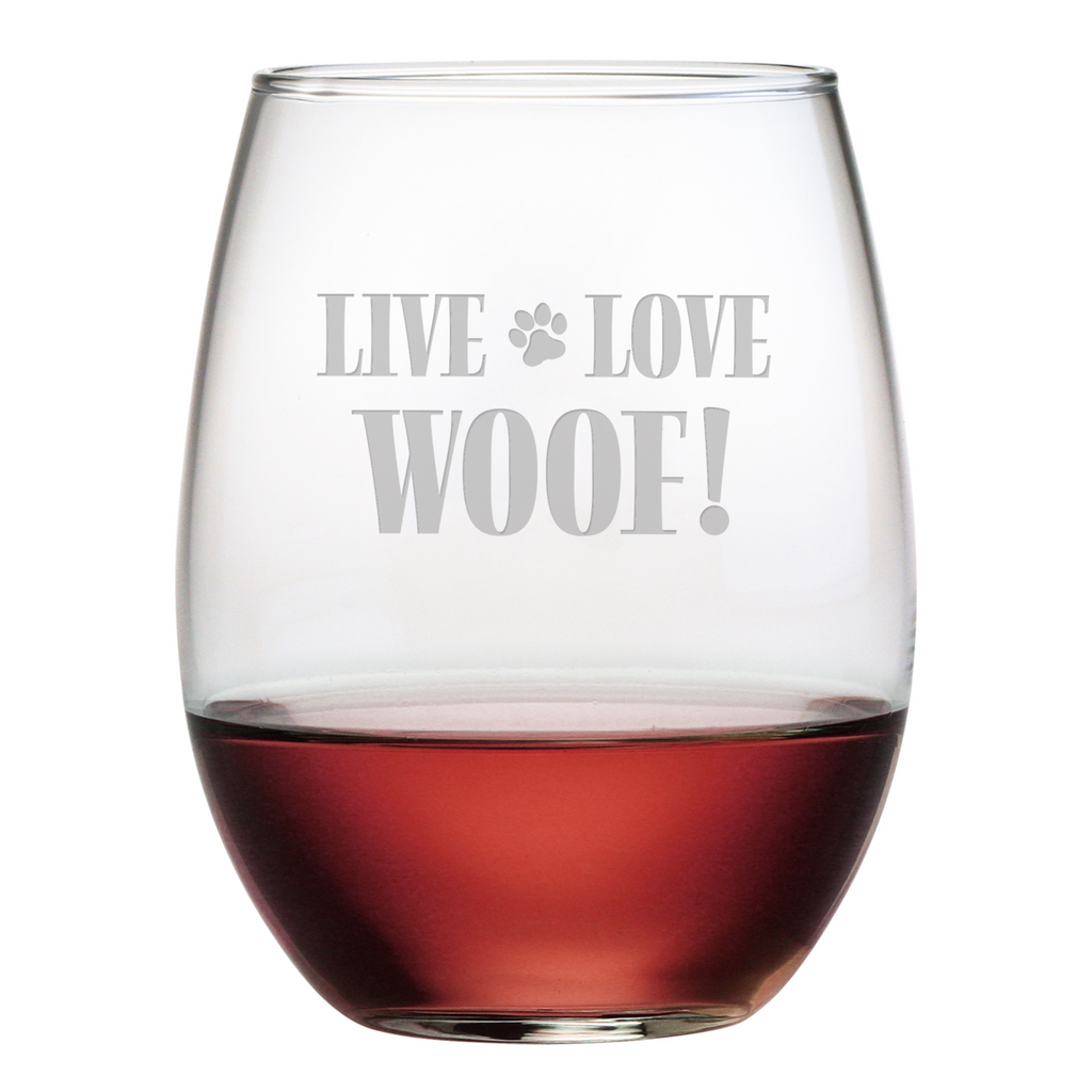 Live Love Woof Stemless Wine Glasses - Premier Home & Gifts