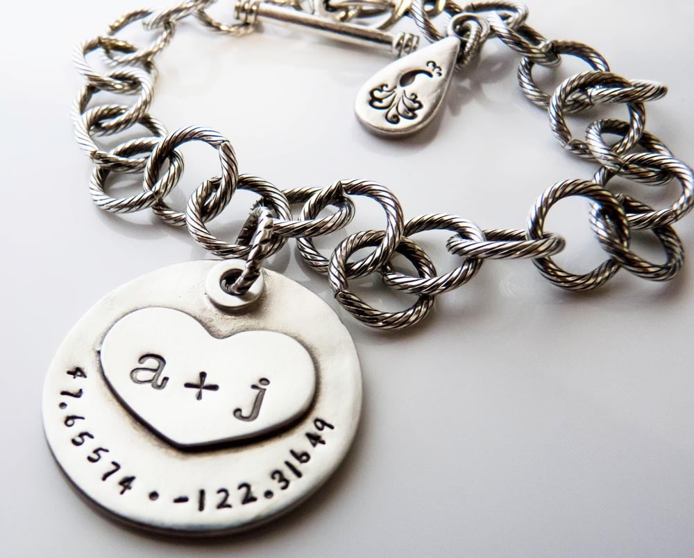 Initials and Latitude Longitude Charm Bracelet