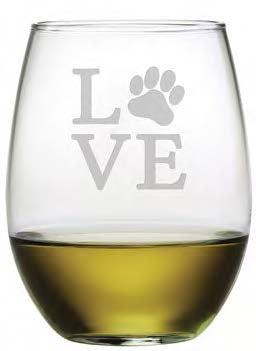 Love Paw Stemless Wine Glasses