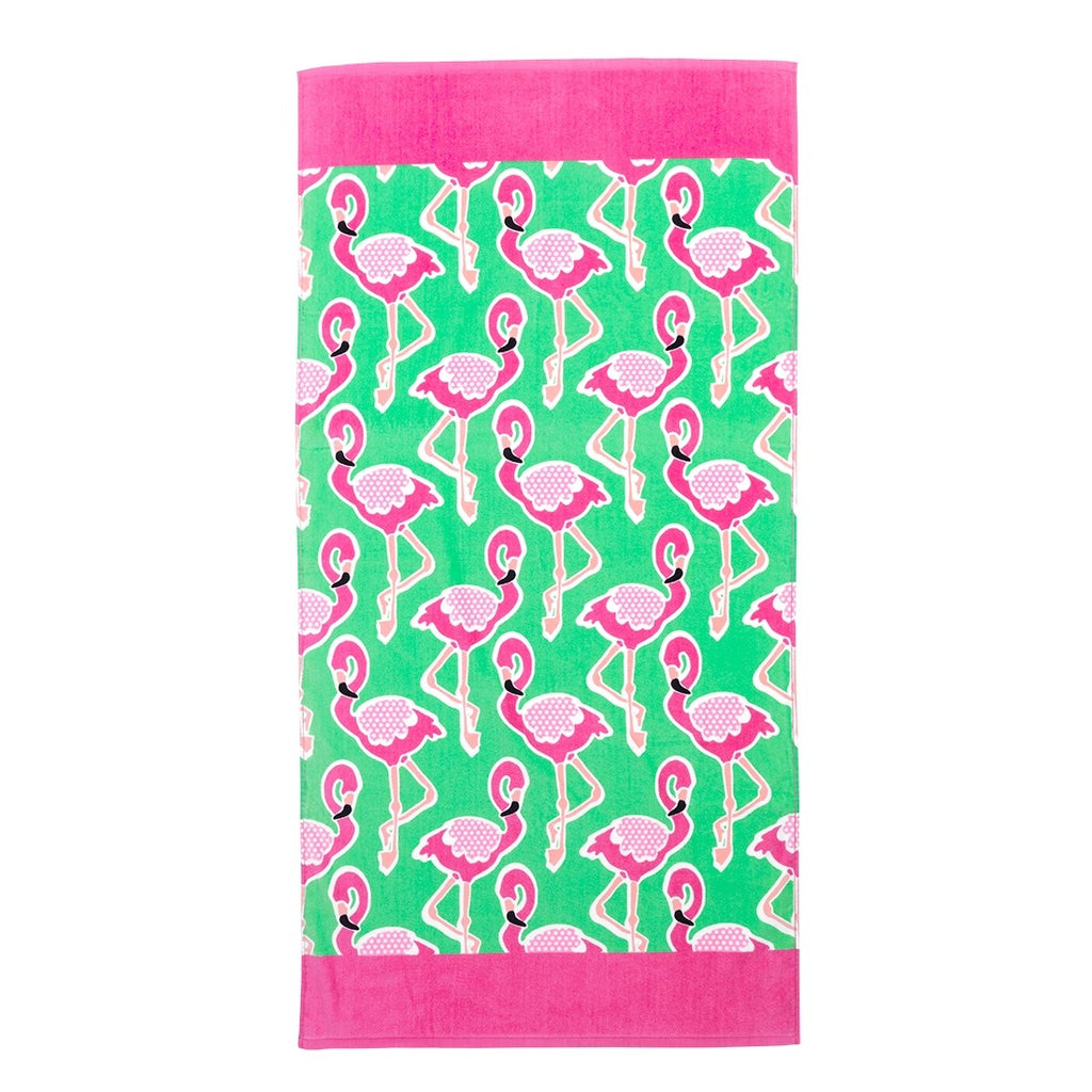 Flamingle Personalized Beach Towel - Monogrammed Towel