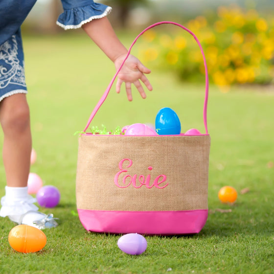 Burlap and Pink Easter Bucket - Easter Baskets - Easter Totes