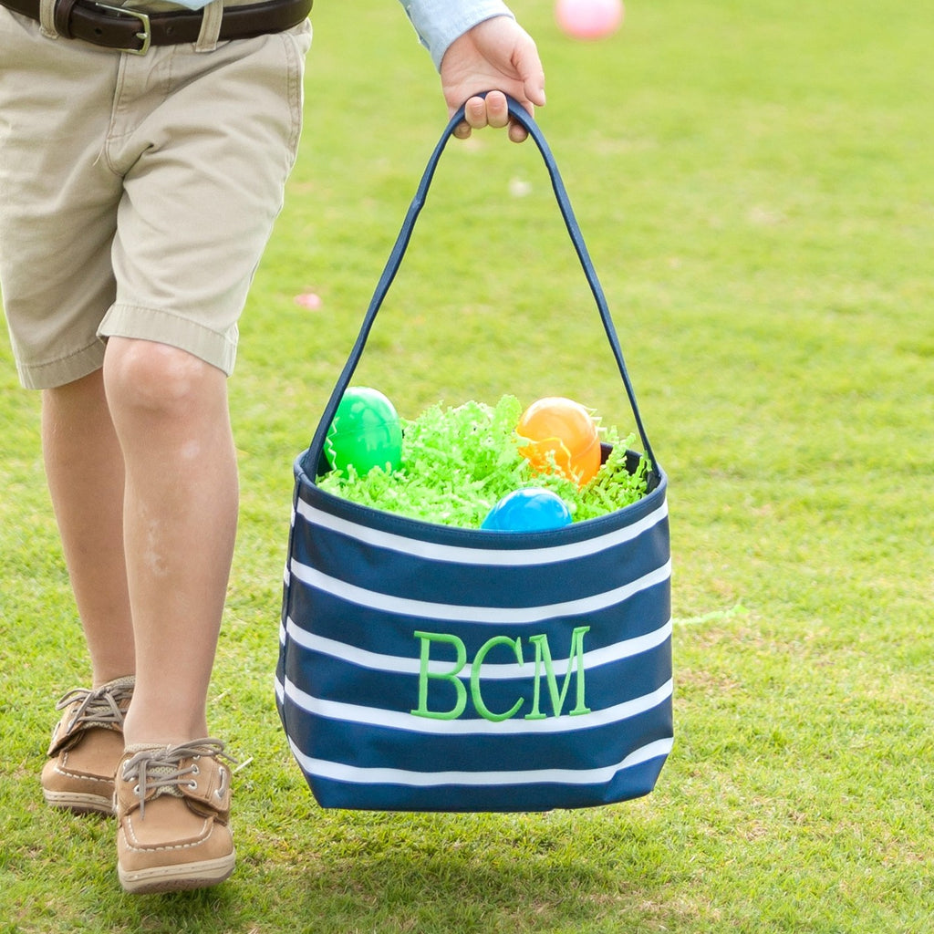 Navy Stripe Easter Bucket - Easter Baskets - Easter Totes
