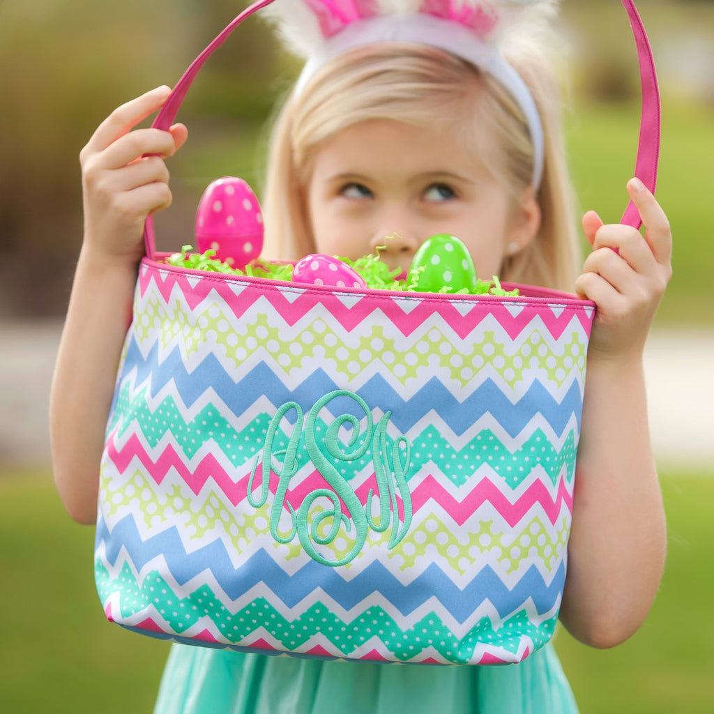 Zig Zag Easter Bucket - Easter Basket - Easter Bag - Personalized Gifts