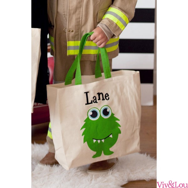 Monster Personalized Canvas Tote Trick or Treat Bag