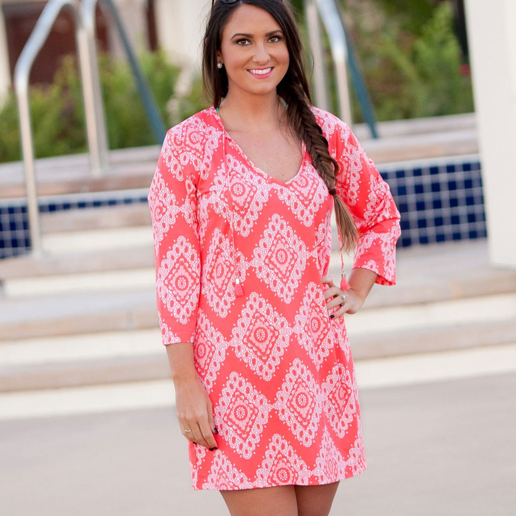 Coastal Coral Tunic - Monogrammed