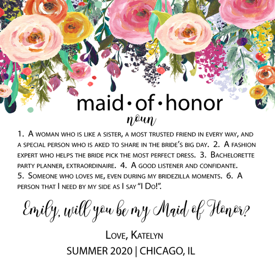 Maid of Honor Noun Personalized Candle - Premier Home & Gifts