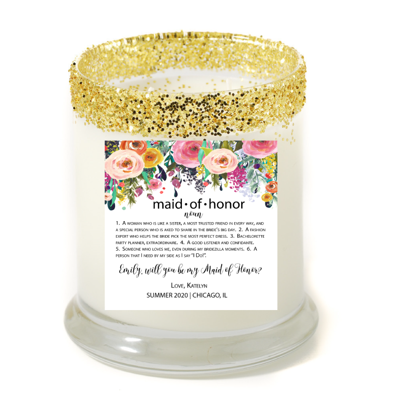 maid of honor noun personalized candle