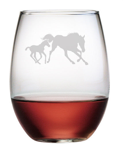 Mare and Foal Stemless Wine Glasses ~ Set of 4