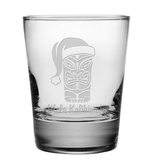 Mele Kalikimaka Double Old Fashioned Glasses ~ Set of 4