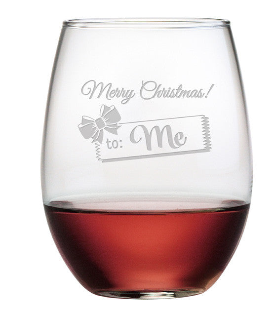 Merry Christmas to Me ~ Stemless Wine Glasses ~ Set of 4