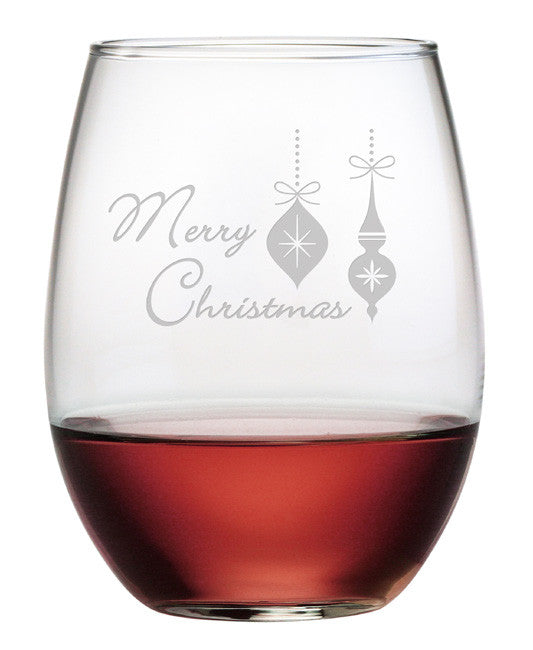 Merry Christmas Ornaments ~ Stemless Wine Glasses ~ Set of 4
